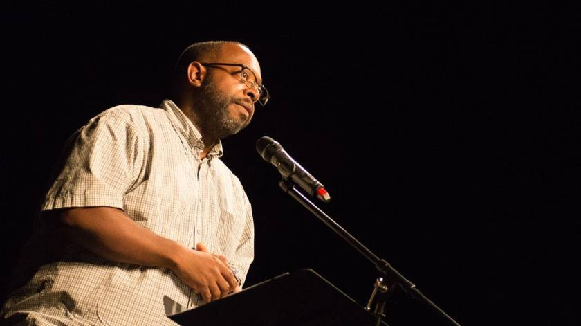 Michael Kleber-Diggs at July 13, 2016 Black Poets Speak Out event [credit: Tom Baker, MPR News, 2016]